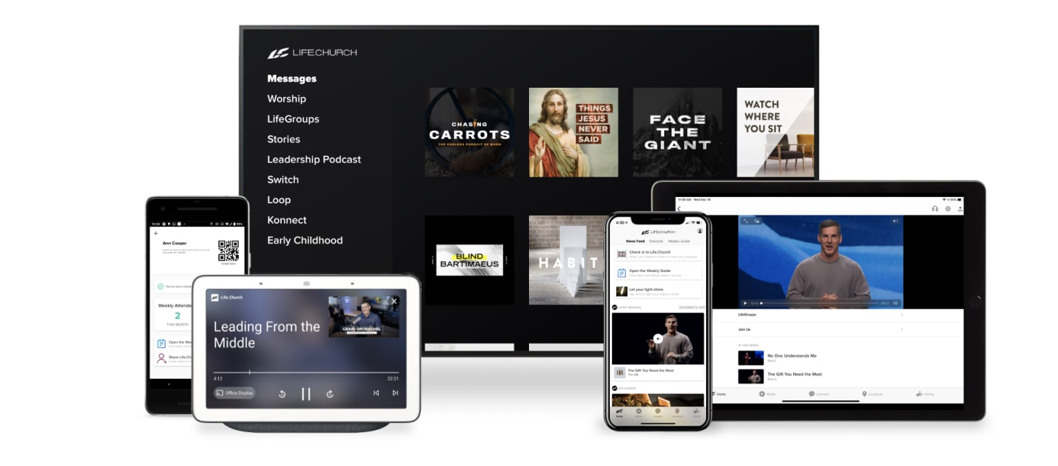 A collection of devices you can use the Life.Church app on